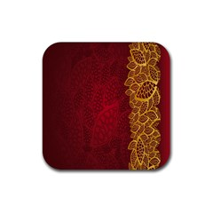Floral Flower Golden Red Leaf Rubber Square Coaster (4 Pack)  by Mariart