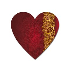Floral Flower Golden Red Leaf Heart Magnet by Mariart