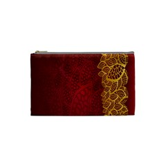 Floral Flower Golden Red Leaf Cosmetic Bag (small)  by Mariart