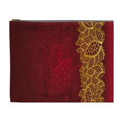 Floral Flower Golden Red Leaf Cosmetic Bag (xl) by Mariart