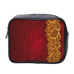Floral Flower Golden Red Leaf Mini Toiletries Bag 2 Side by Mariart