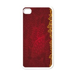 Floral Flower Golden Red Leaf Apple Iphone 4 Case (white)