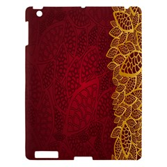 Floral Flower Golden Red Leaf Apple Ipad 3/4 Hardshell Case by Mariart