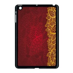 Floral Flower Golden Red Leaf Apple Ipad Mini Case (black) by Mariart