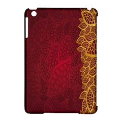 Floral Flower Golden Red Leaf Apple Ipad Mini Hardshell Case (compatible With Smart Cover) by Mariart