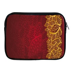 Floral Flower Golden Red Leaf Apple Ipad 2/3/4 Zipper Cases by Mariart
