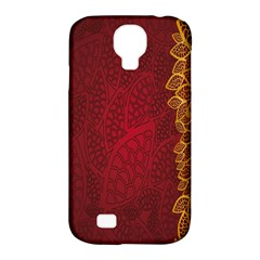 Floral Flower Golden Red Leaf Samsung Galaxy S4 Classic Hardshell Case (pc+silicone)