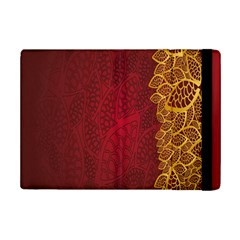 Floral Flower Golden Red Leaf Ipad Mini 2 Flip Cases by Mariart