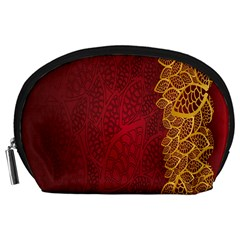 Floral Flower Golden Red Leaf Accessory Pouches (large)  by Mariart