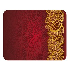 Floral Flower Golden Red Leaf Double Sided Flano Blanket (large)  by Mariart