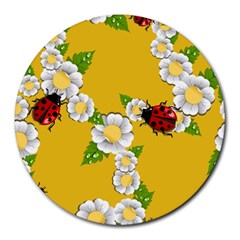 Flower Floral Sunflower Butterfly Red Yellow White Green Leaf Round Mousepads by Mariart