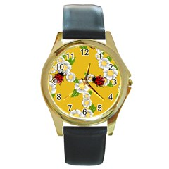 Flower Floral Sunflower Butterfly Red Yellow White Green Leaf Round Gold Metal Watch by Mariart