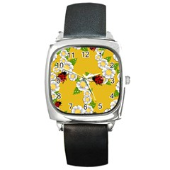 Flower Floral Sunflower Butterfly Red Yellow White Green Leaf Square Metal Watch by Mariart