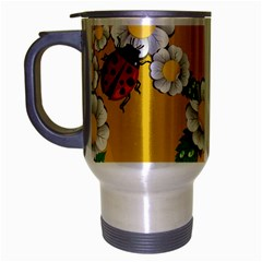 Flower Floral Sunflower Butterfly Red Yellow White Green Leaf Travel Mug (silver Gray) by Mariart