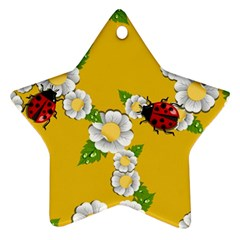 Flower Floral Sunflower Butterfly Red Yellow White Green Leaf Star Ornament (two Sides) by Mariart