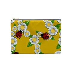 Flower Floral Sunflower Butterfly Red Yellow White Green Leaf Cosmetic Bag (medium)  by Mariart