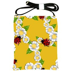Flower Floral Sunflower Butterfly Red Yellow White Green Leaf Shoulder Sling Bags by Mariart