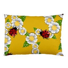 Flower Floral Sunflower Butterfly Red Yellow White Green Leaf Pillow Case (two Sides) by Mariart