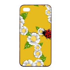 Flower Floral Sunflower Butterfly Red Yellow White Green Leaf Apple Iphone 4/4s Seamless Case (black) by Mariart