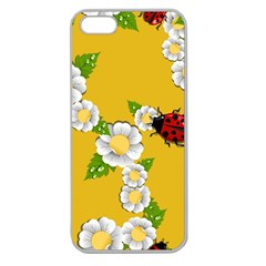Flower Floral Sunflower Butterfly Red Yellow White Green Leaf Apple Seamless Iphone 5 Case (clear) by Mariart