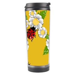 Flower Floral Sunflower Butterfly Red Yellow White Green Leaf Travel Tumbler by Mariart