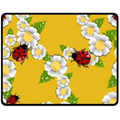 Flower Floral Sunflower Butterfly Red Yellow White Green Leaf Double Sided Fleece Blanket (medium)  by Mariart