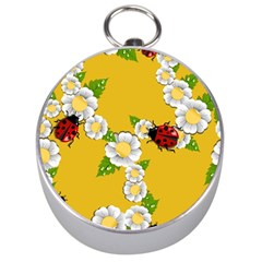 Flower Floral Sunflower Butterfly Red Yellow White Green Leaf Silver Compasses by Mariart