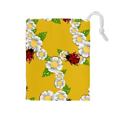 Flower Floral Sunflower Butterfly Red Yellow White Green Leaf Drawstring Pouches (large)  by Mariart