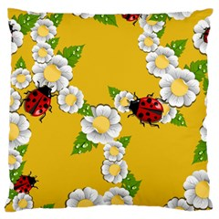 Flower Floral Sunflower Butterfly Red Yellow White Green Leaf Large Flano Cushion Case (two Sides) by Mariart