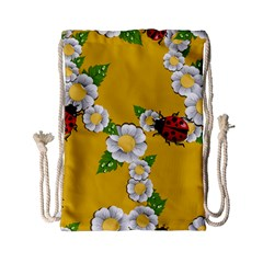 Flower Floral Sunflower Butterfly Red Yellow White Green Leaf Drawstring Bag (small) by Mariart