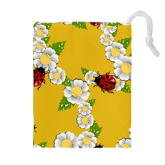 Flower Floral Sunflower Butterfly Red Yellow White Green Leaf Drawstring Pouches (extra Large) by Mariart