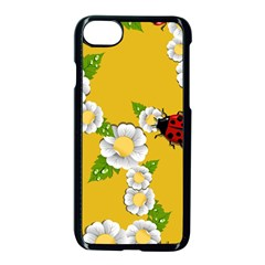Flower Floral Sunflower Butterfly Red Yellow White Green Leaf Apple Iphone 7 Seamless Case (black) by Mariart