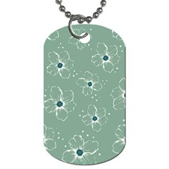 Flower Floral Sakura Sunflower Rose Blue Dog Tag (one Side) by Mariart