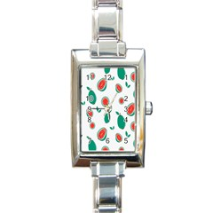 Fruit Green Red Guavas Leaf Rectangle Italian Charm Watch by Mariart