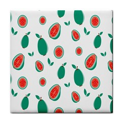 Fruit Green Red Guavas Leaf Tile Coasters by Mariart