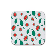 Fruit Green Red Guavas Leaf Rubber Coaster (square)