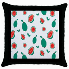 Fruit Green Red Guavas Leaf Throw Pillow Case (black) by Mariart