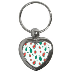 Fruit Green Red Guavas Leaf Key Chains (heart)  by Mariart
