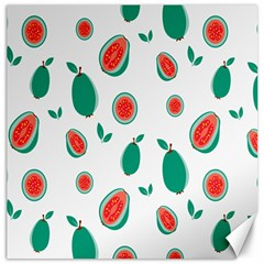 Fruit Green Red Guavas Leaf Canvas 12  X 12   by Mariart
