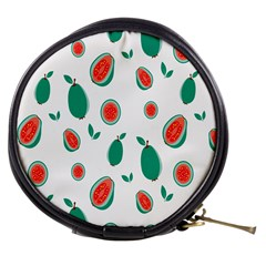 Fruit Green Red Guavas Leaf Mini Makeup Bags by Mariart