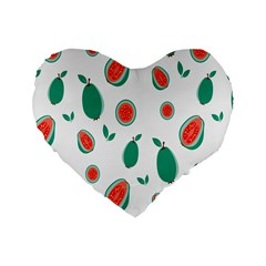 Fruit Green Red Guavas Leaf Standard 16  Premium Heart Shape Cushions by Mariart