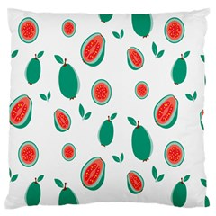 Fruit Green Red Guavas Leaf Large Flano Cushion Case (two Sides) by Mariart