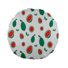 Fruit Green Red Guavas Leaf Standard 15  Premium Flano Round Cushions by Mariart