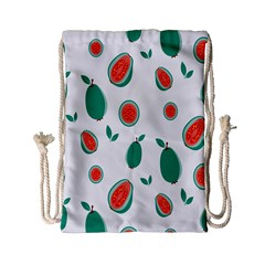 Fruit Green Red Guavas Leaf Drawstring Bag (small) by Mariart