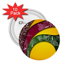 Flower Floral Leaf Star Sunflower Green Red Yellow Brown Sexxy 2 25  Buttons (10 Pack)