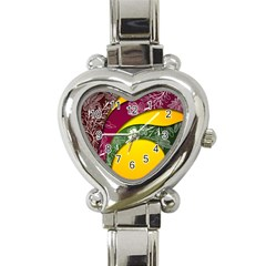 Flower Floral Leaf Star Sunflower Green Red Yellow Brown Sexxy Heart Italian Charm Watch by Mariart