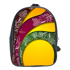 Flower Floral Leaf Star Sunflower Green Red Yellow Brown Sexxy School Bags(large)