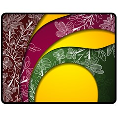 Flower Floral Leaf Star Sunflower Green Red Yellow Brown Sexxy Fleece Blanket (medium)  by Mariart