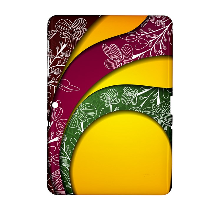 Flower Floral Leaf Star Sunflower Green Red Yellow Brown Sexxy Samsung Galaxy Tab 2 (10.1 ) P5100 Hardshell Case