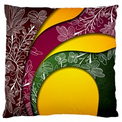 Flower Floral Leaf Star Sunflower Green Red Yellow Brown Sexxy Standard Flano Cushion Case (two Sides) by Mariart